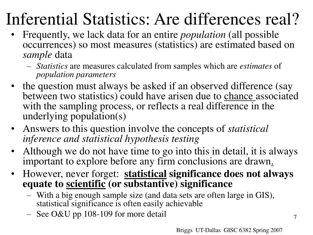 Inferential Statistics: Are differences real?