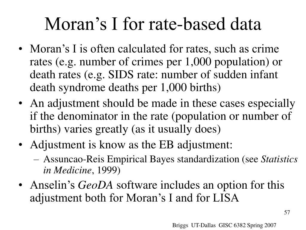 Moran's I for rate-based data