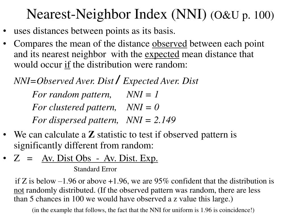 Nearest-Neighbor Index (NNI)