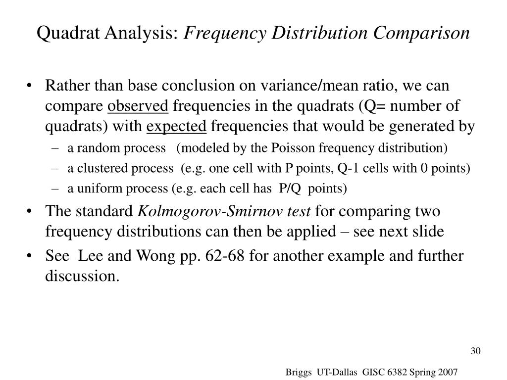 Quadrat Analysis: