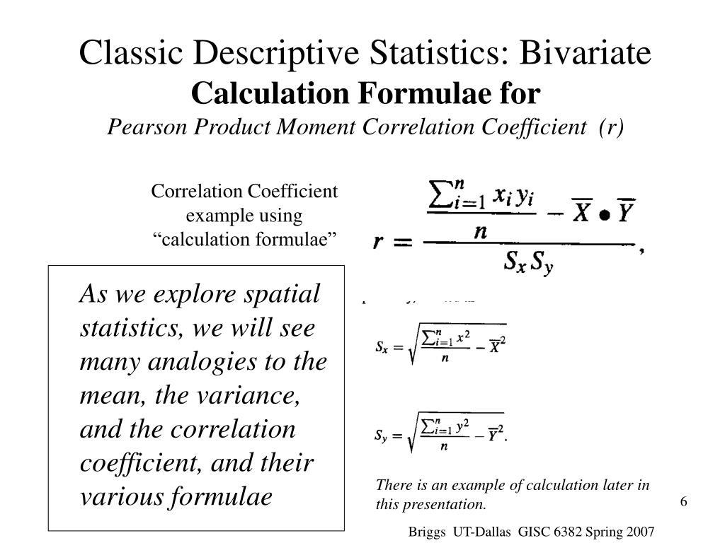 Classic Descriptive Statistics: Bivariate