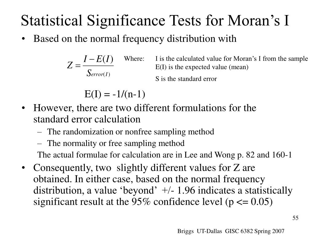 Where:I is the calculated value for Moran's I from the sample