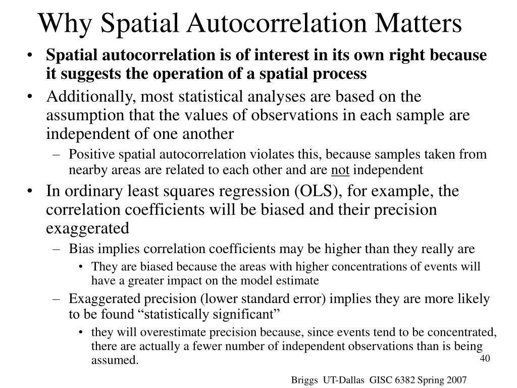 Why Spatial Autocorrelation Matters