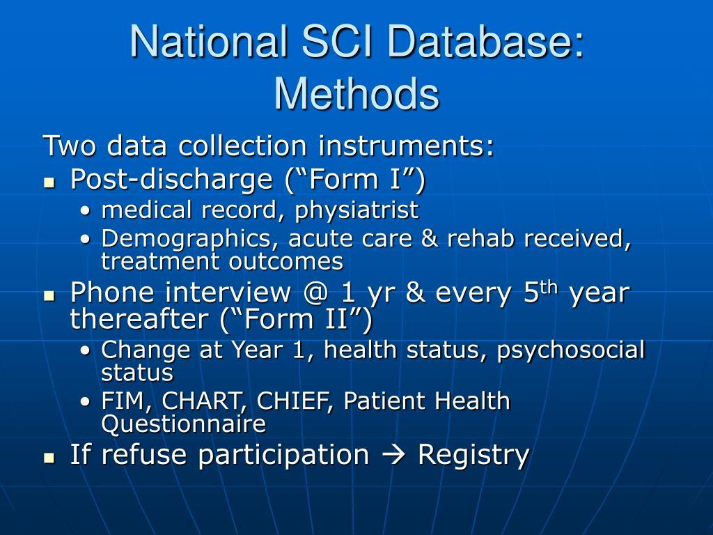 National SCI Database: Methods