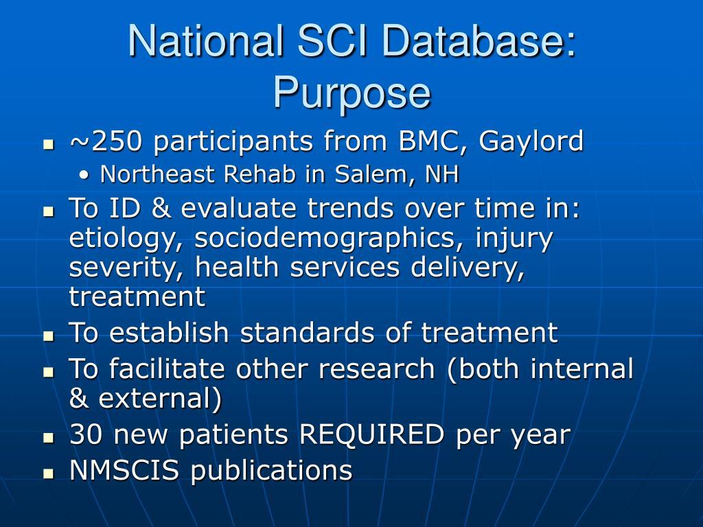 National SCI Database: