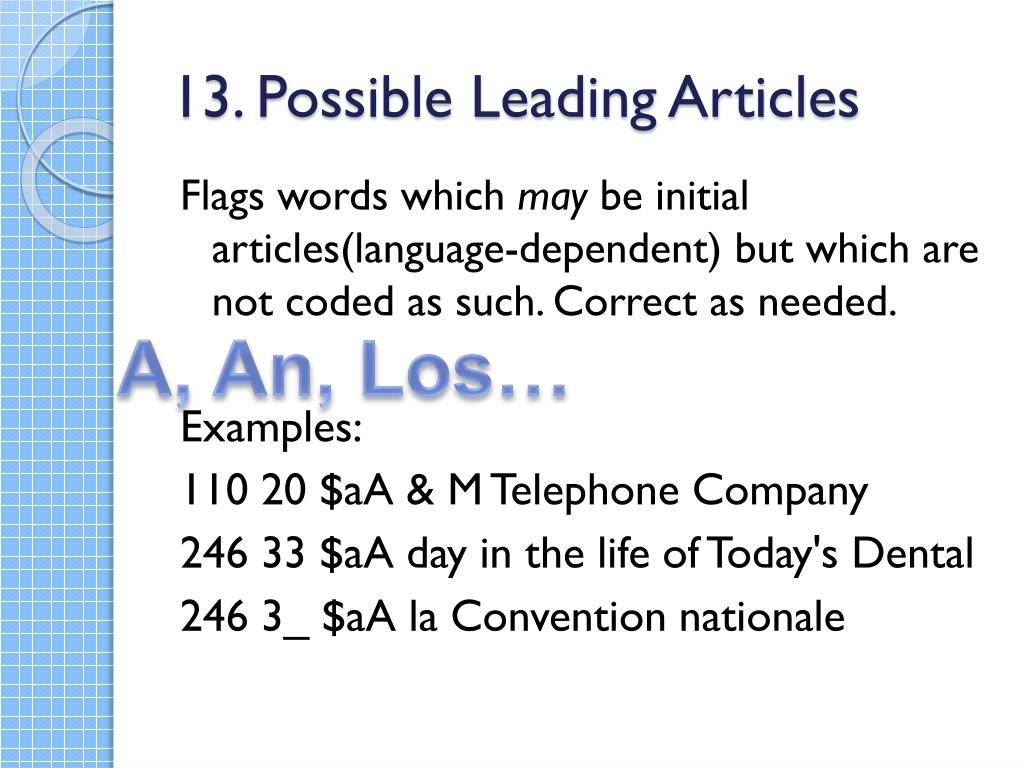 13. Possible Leading Articles