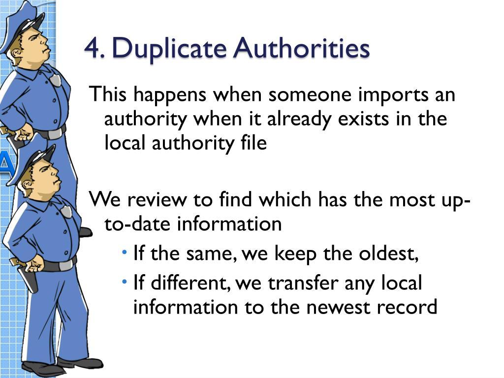 4. Duplicate Authorities