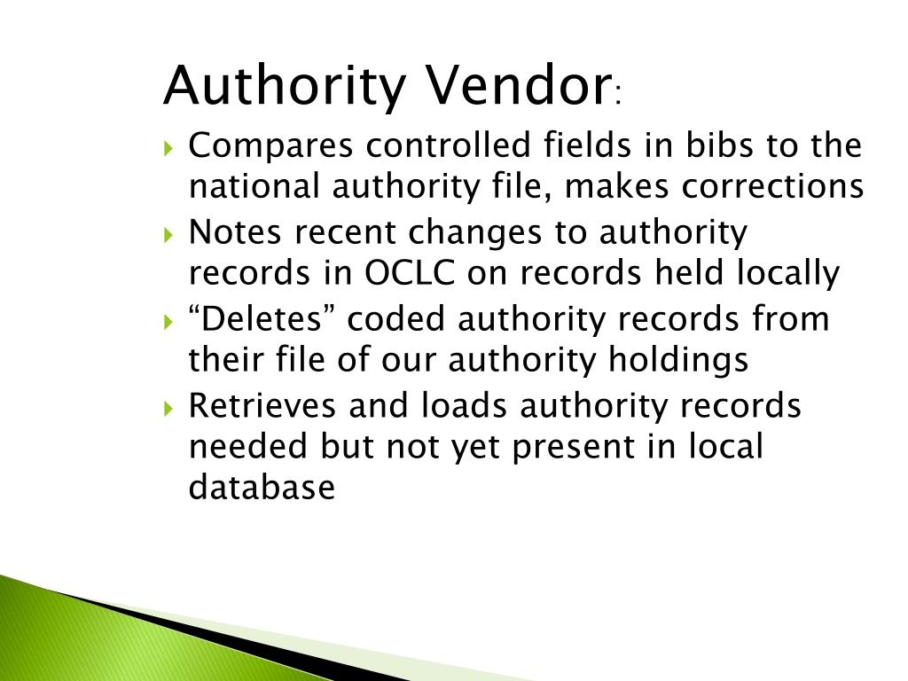 Authority Vendor