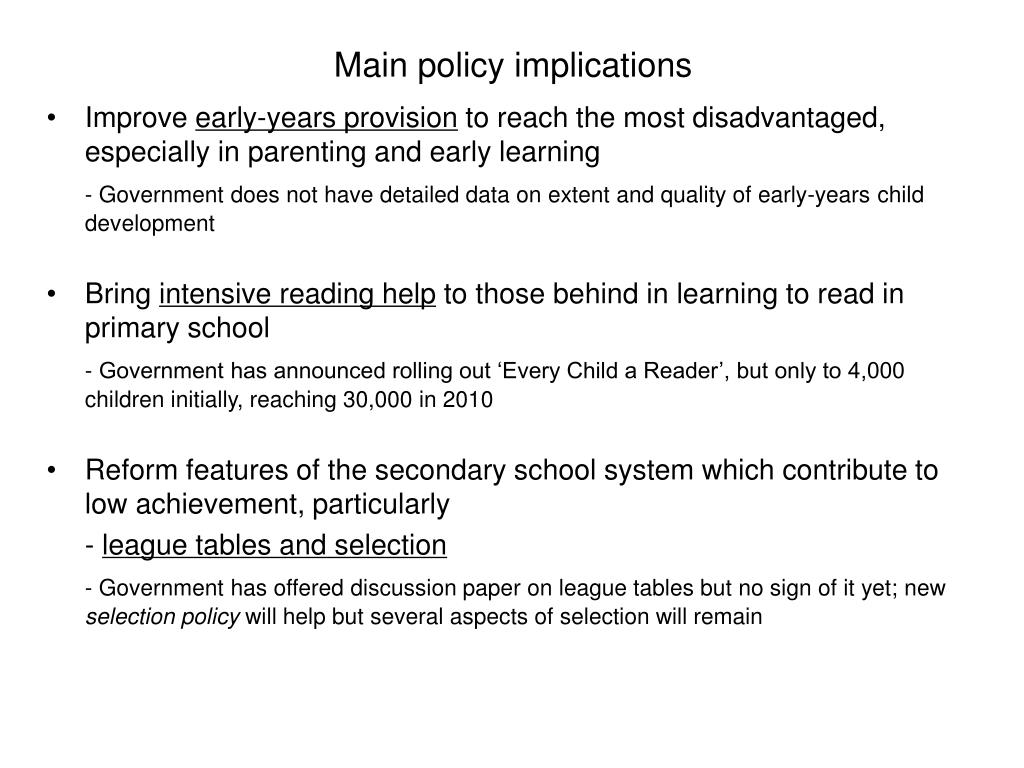 Main policy implications