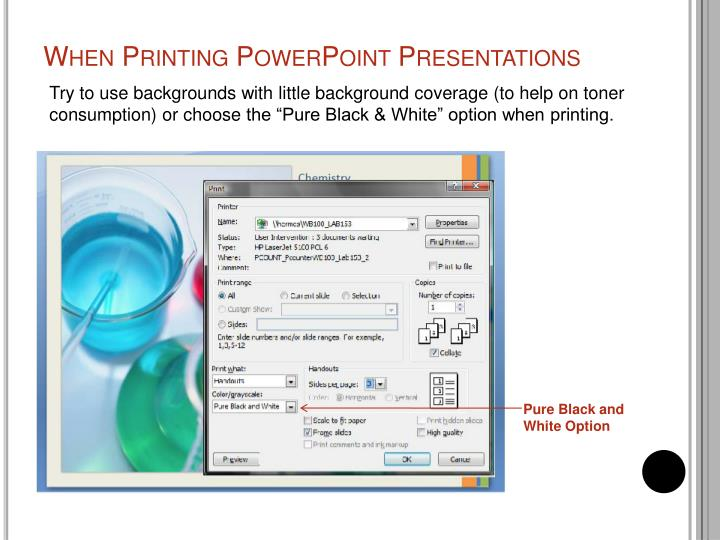 When printing powerpoint presentations
