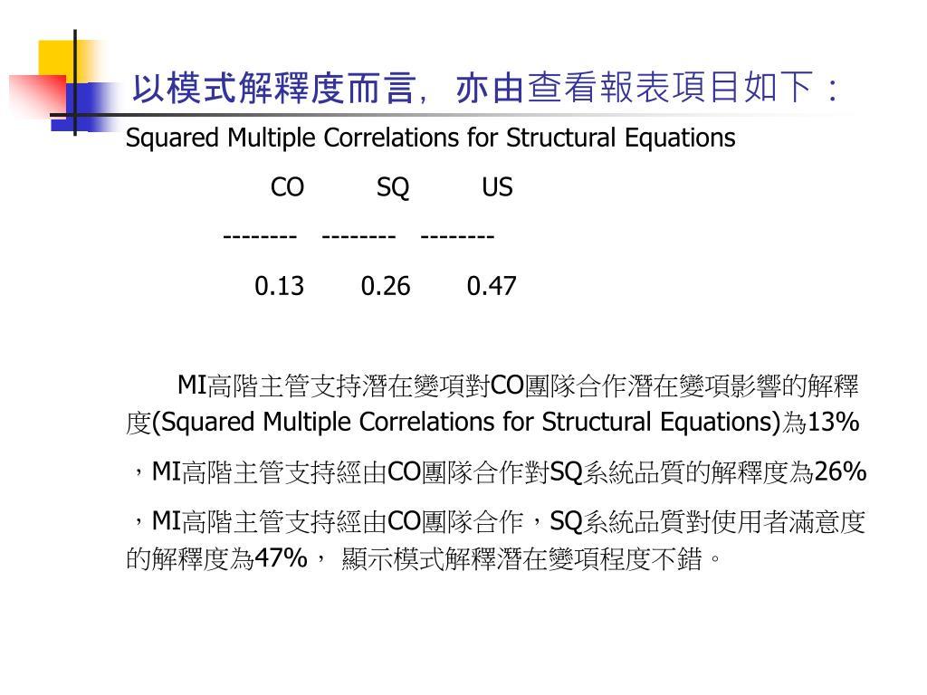 以模式解釋度而言,亦由查看報表項目如下: