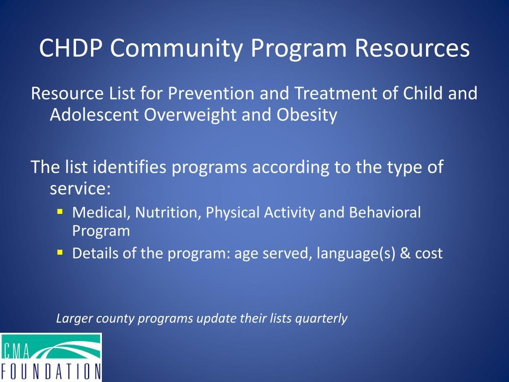 CHDP Community Program Resources