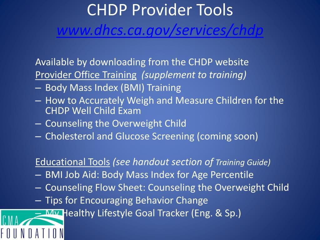 CHDP Provider Tools