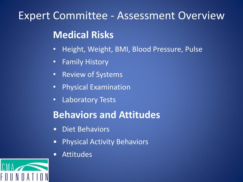 Expert Committee - Assessment Overview