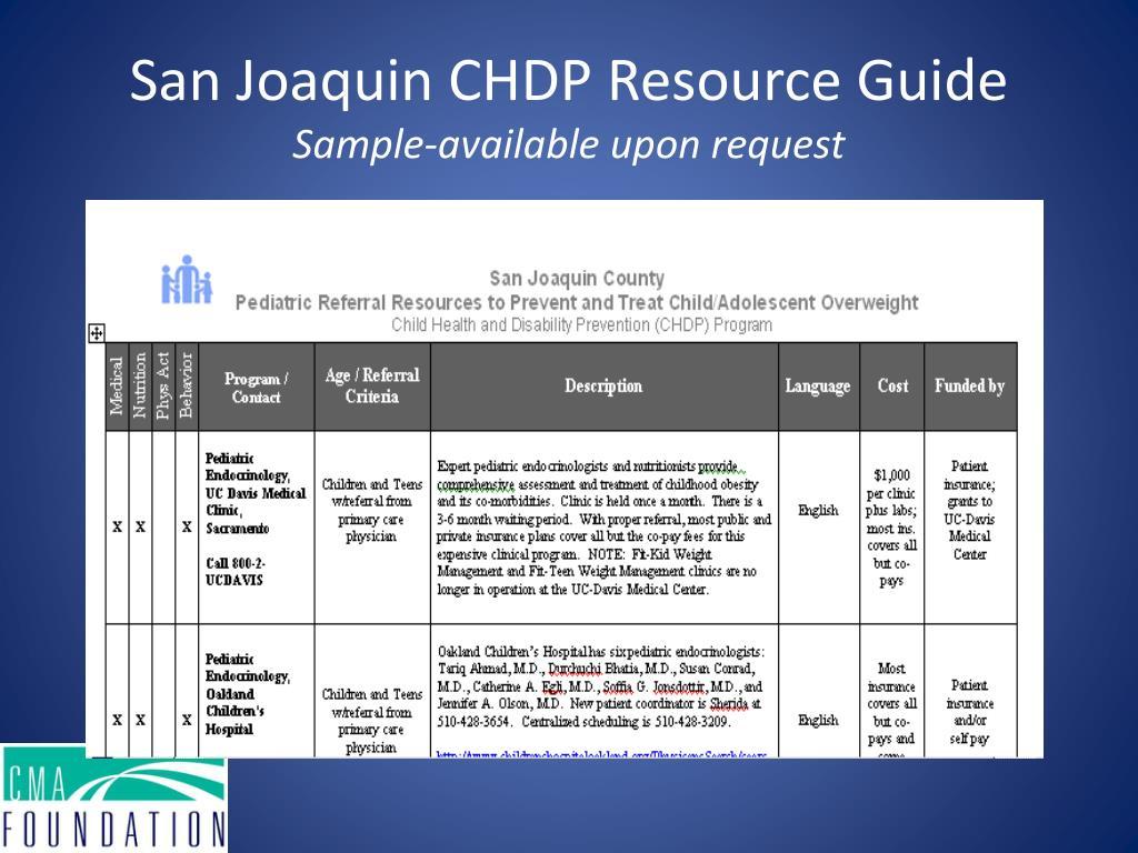 San Joaquin CHDP Resource Guide