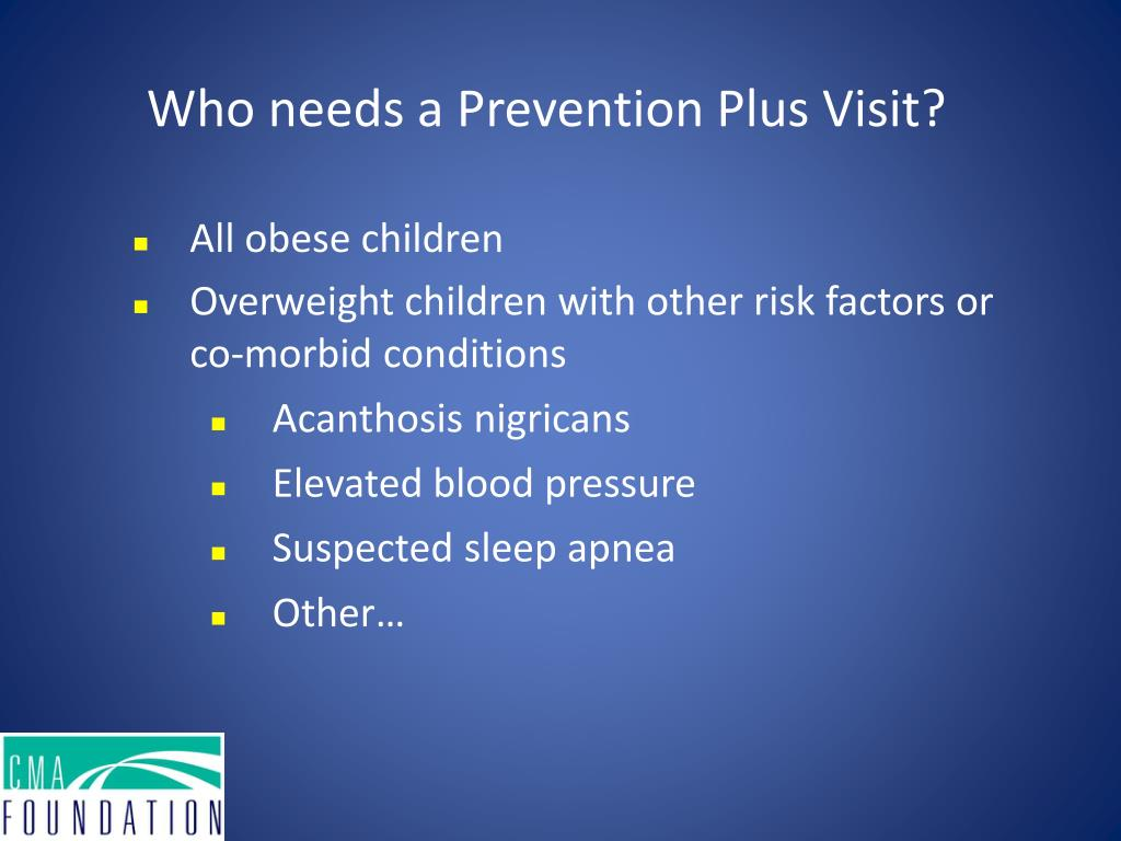 Who needs a Prevention Plus Visit?