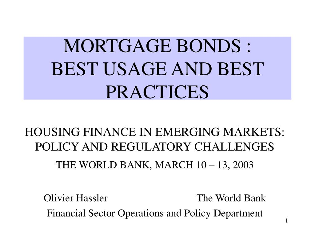 mortgage bonds best usage and best practices l.