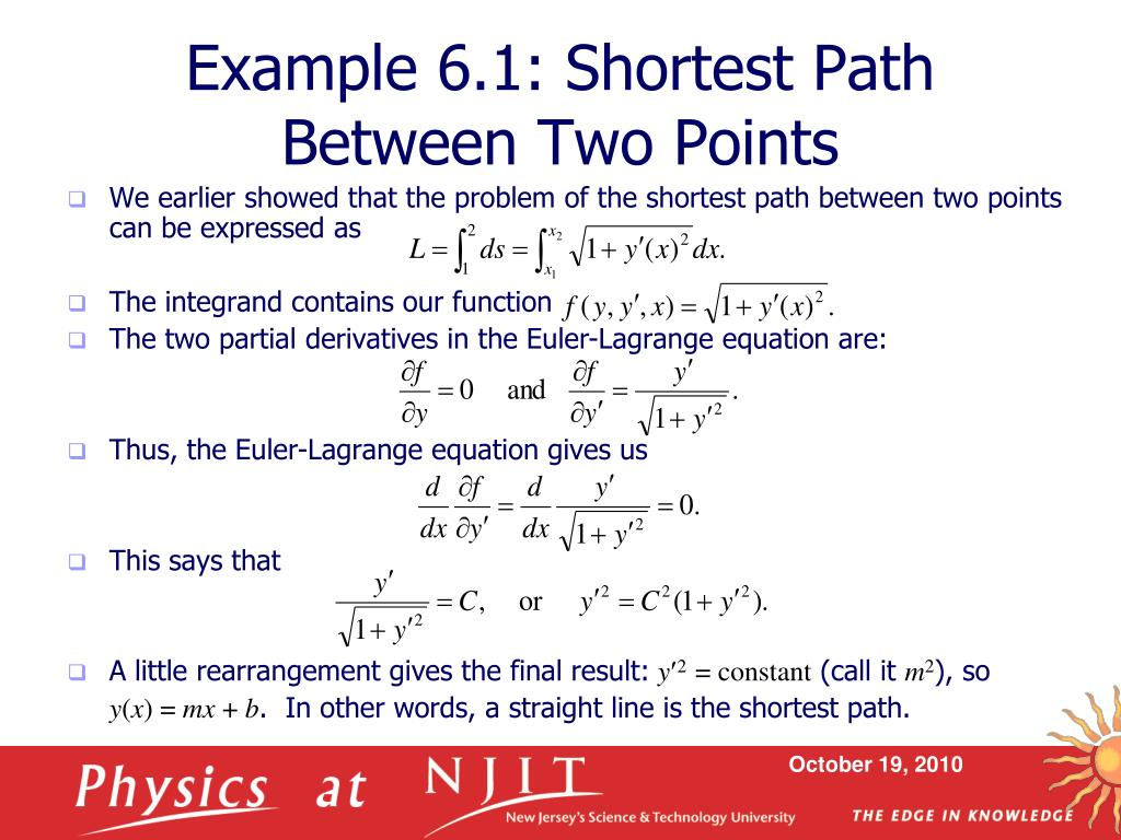 Example 6.1: Shortest Path Between Two Points