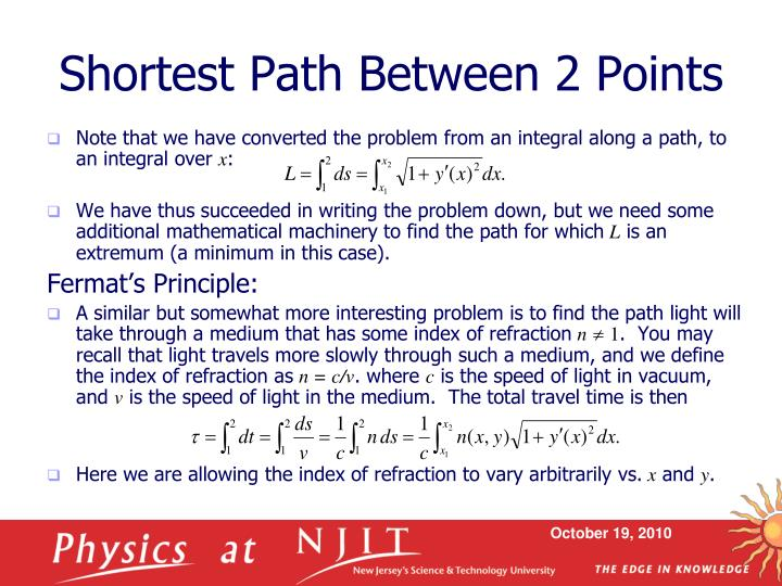 Shortest path between 2 points
