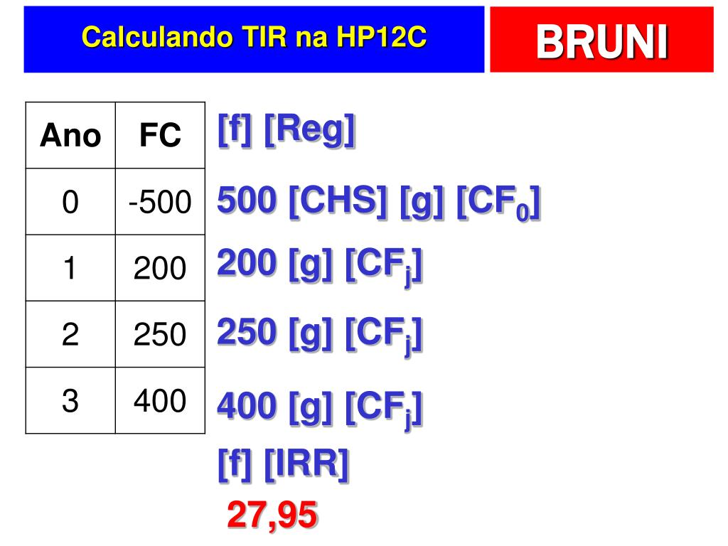 Calculando TIR na HP12C