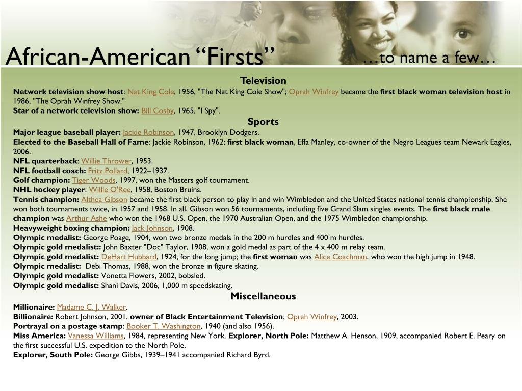 "African-American ""Firsts"""