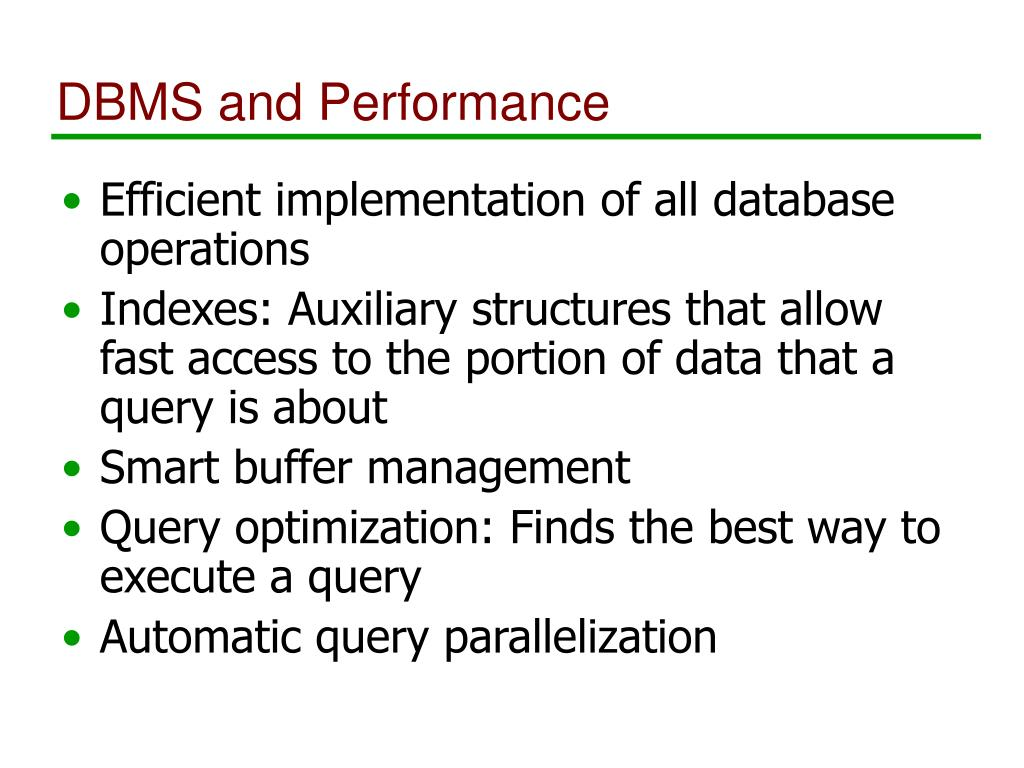 DBMS and Performance