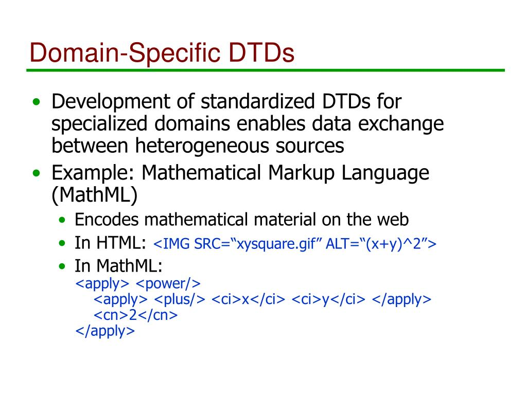Domain-Specific DTDs