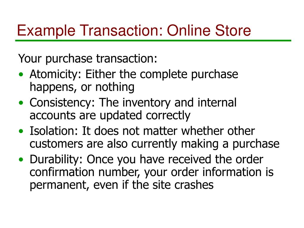 Example Transaction: Online Store