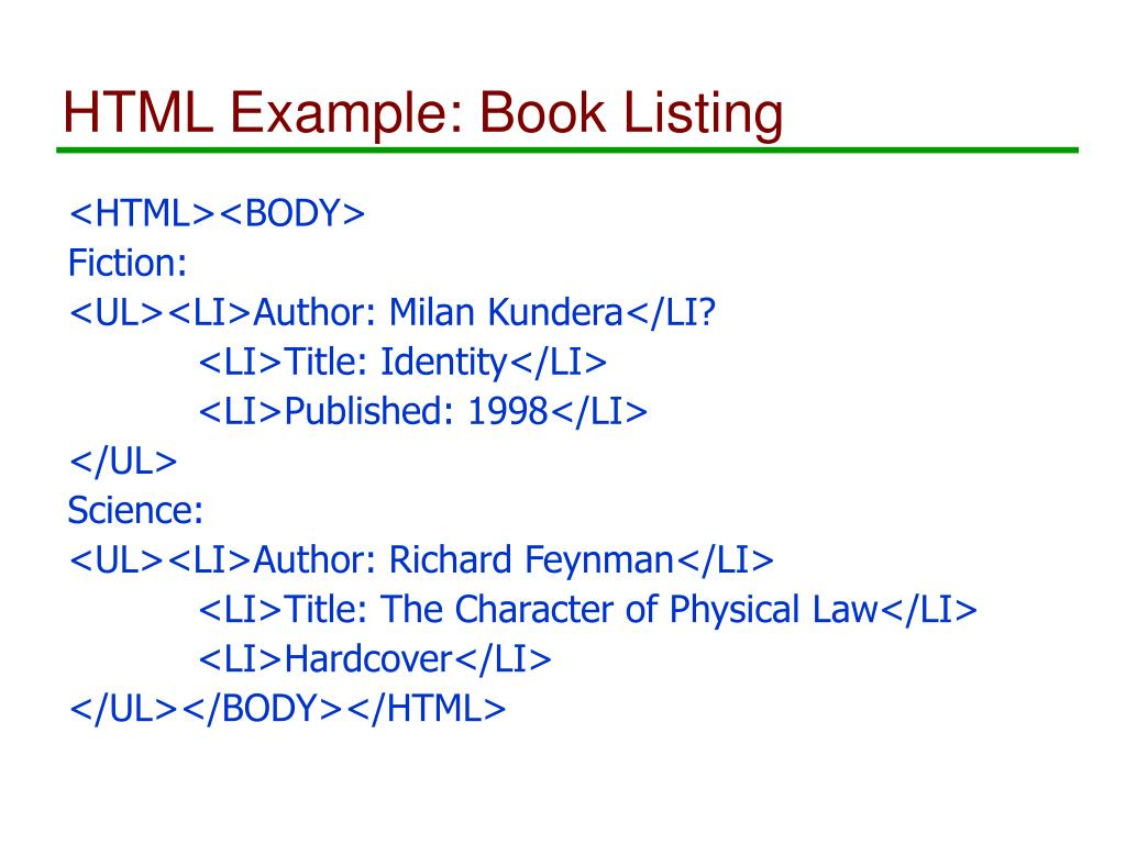 HTML Example: Book Listing