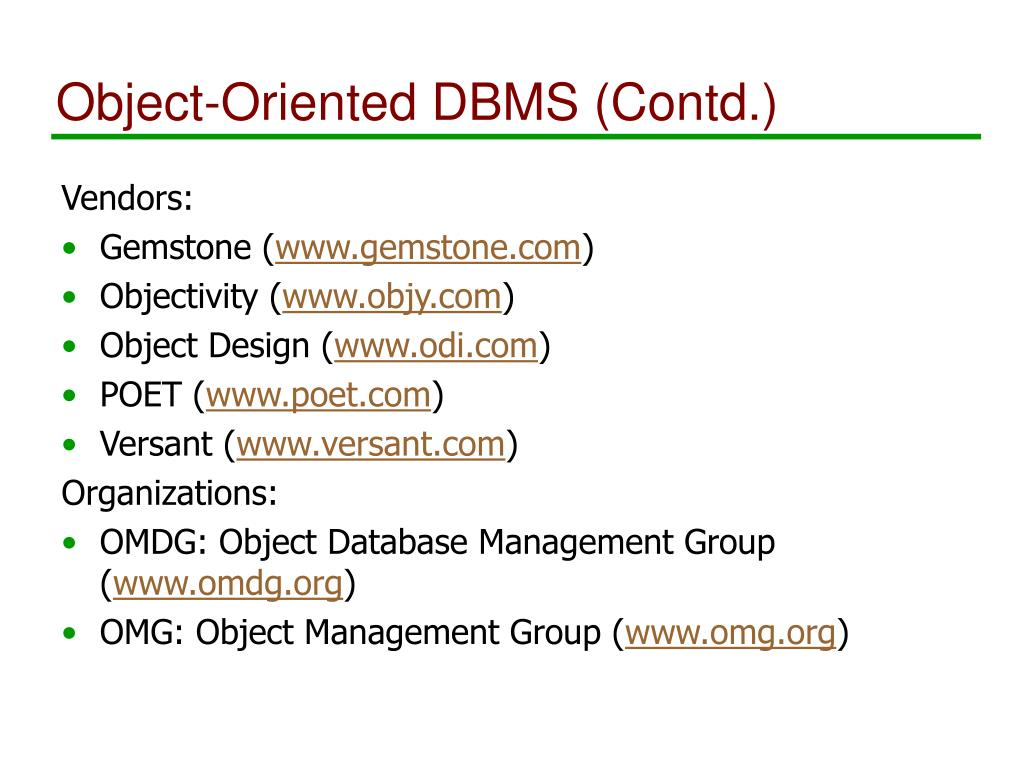 Object-Oriented DBMS (Contd.)