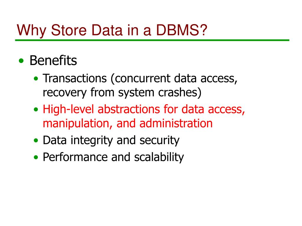 Why Store Data in a DBMS?