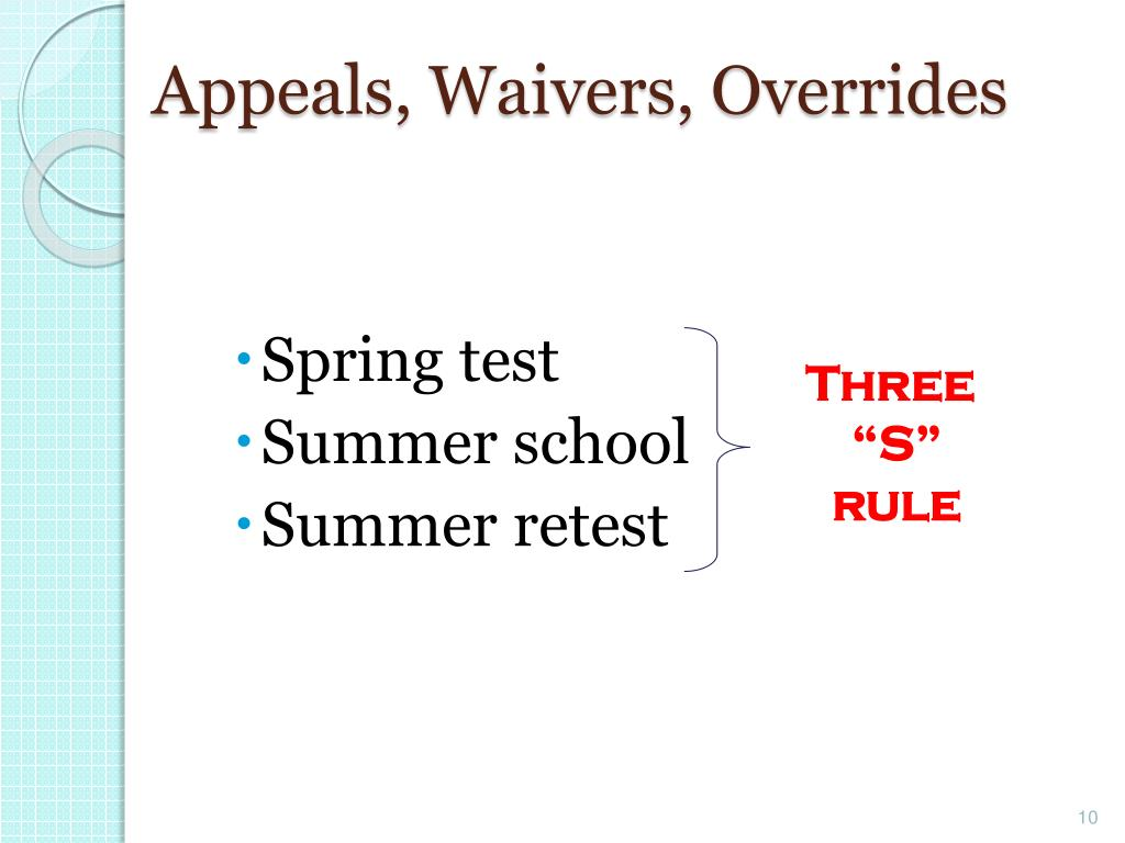 Appeals, Waivers, Overrides