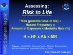 assessing risk to life