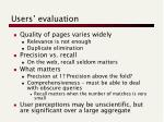 users evaluation