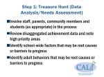 step 1 treasure hunt data analysis needs assessment