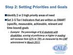 step 2 setting priorities and goals