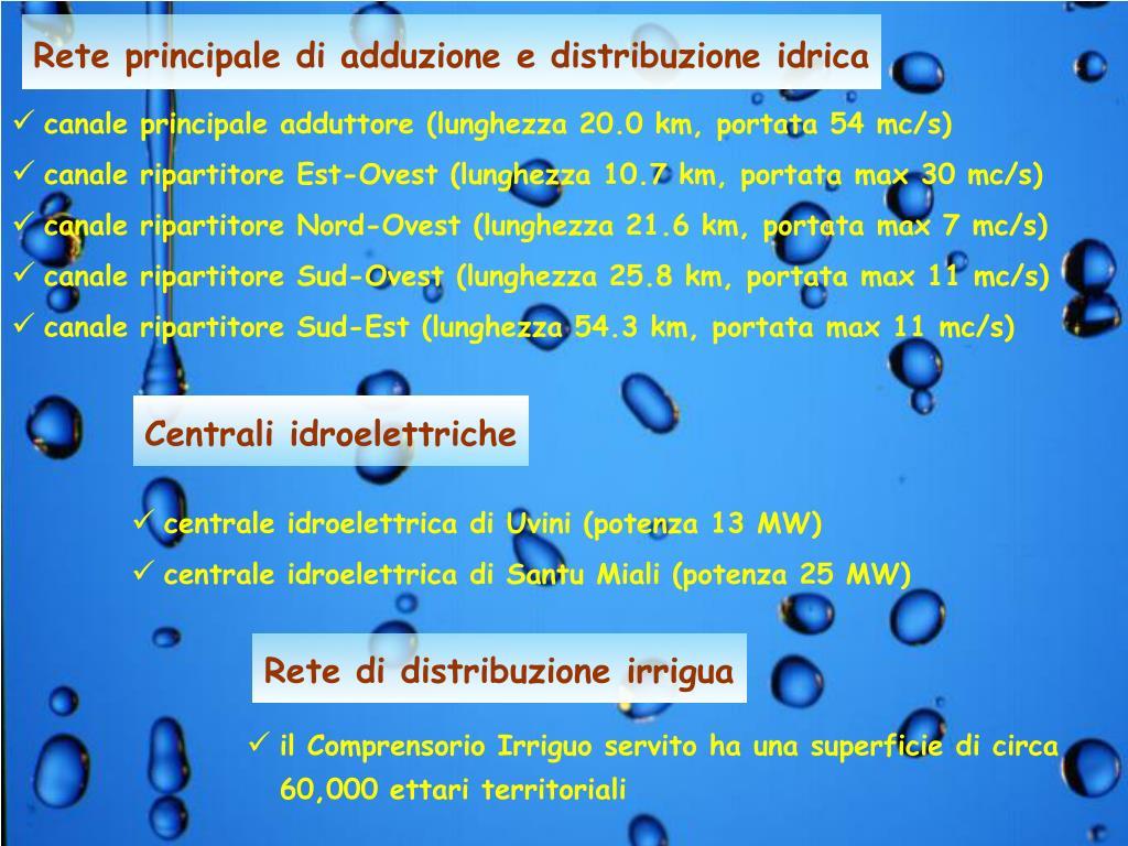 Rete principale di adduzione e distribuzione idrica