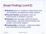 broad findings cont d