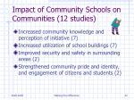 impact of community schools on communities 12 studies