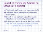 impact of community schools on schools 14 studies