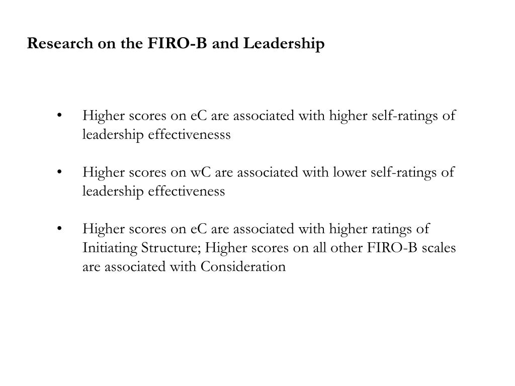 Research on the FIRO-B and Leadership