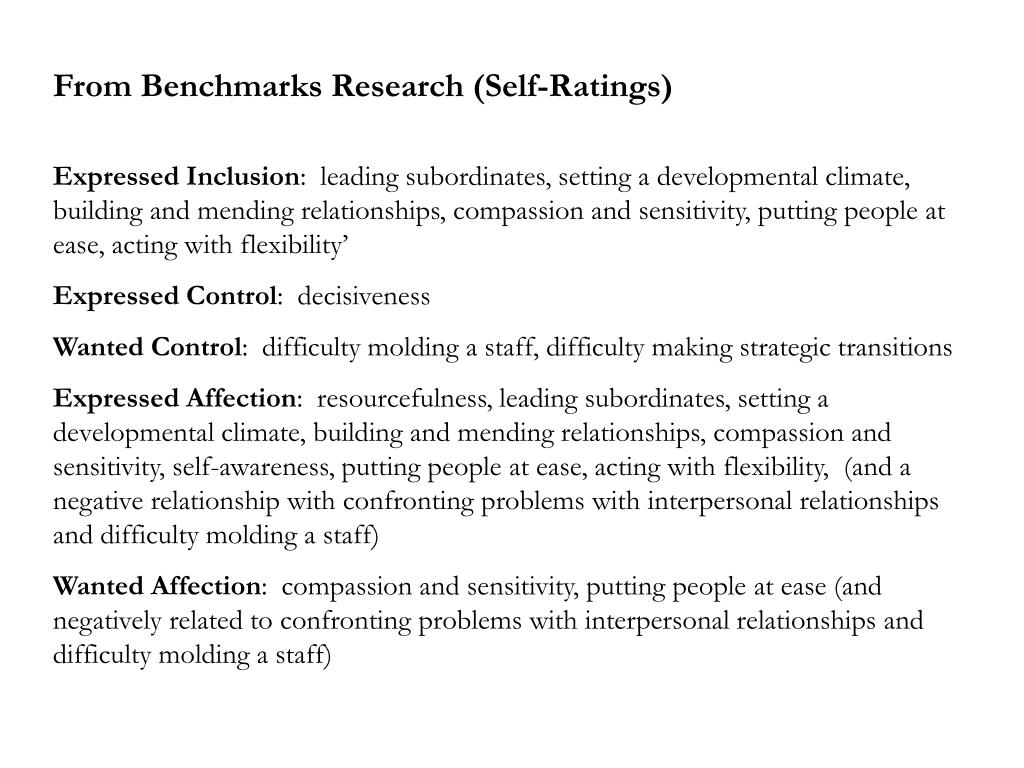 From Benchmarks Research (Self-Ratings)