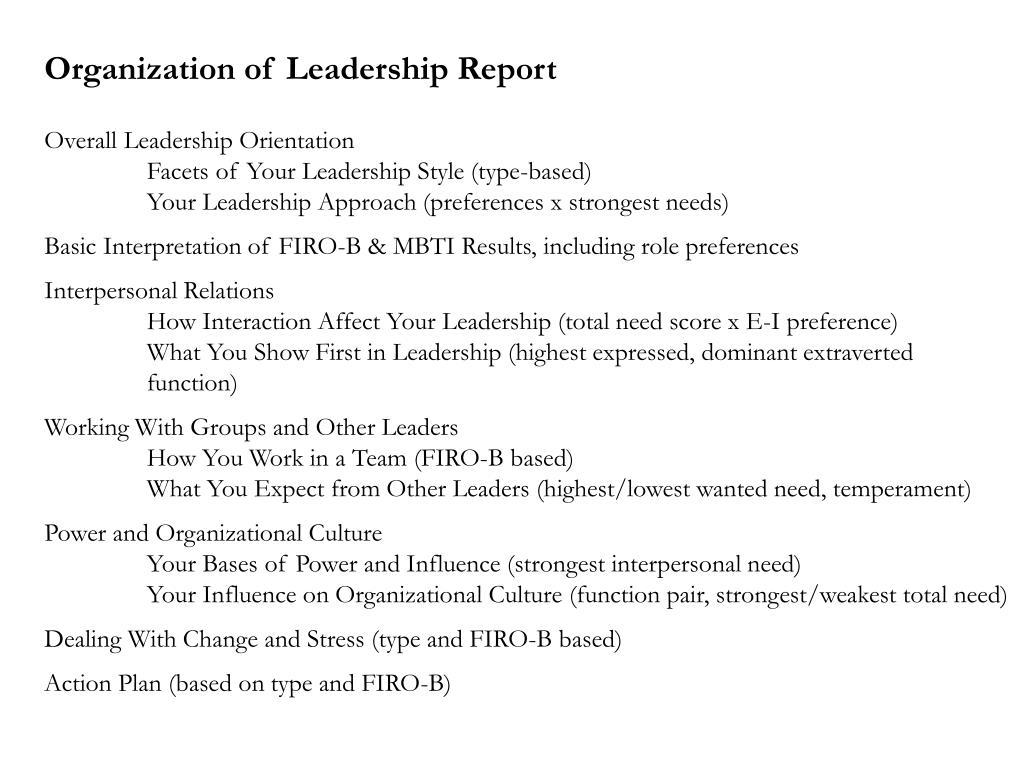 Organization of Leadership Report