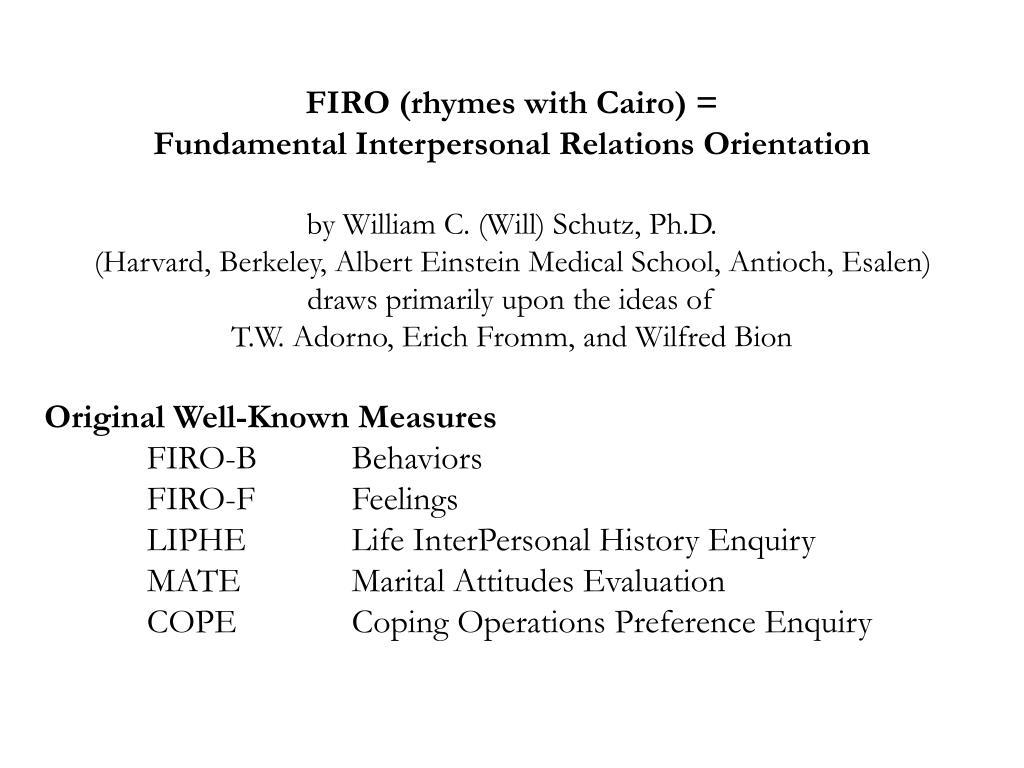 FIRO (rhymes with Cairo) =