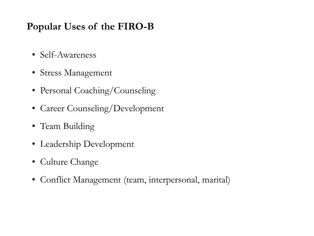 Popular Uses of the FIRO-B