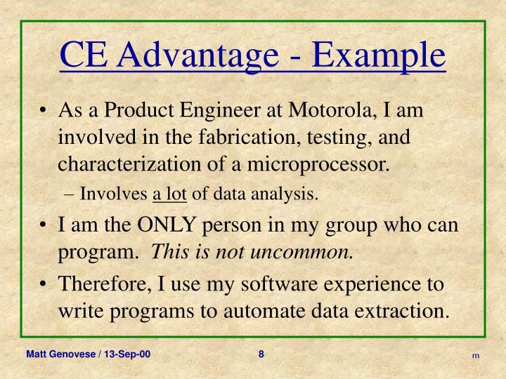 CE Advantage - Example