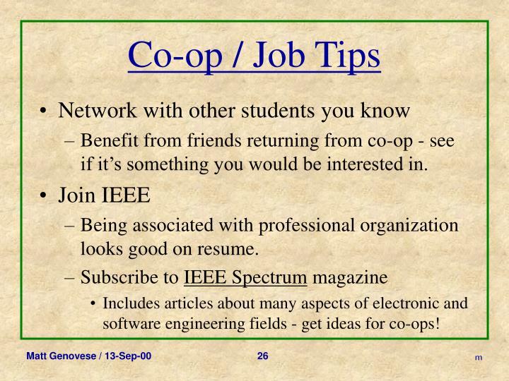 Co-op / Job Tips