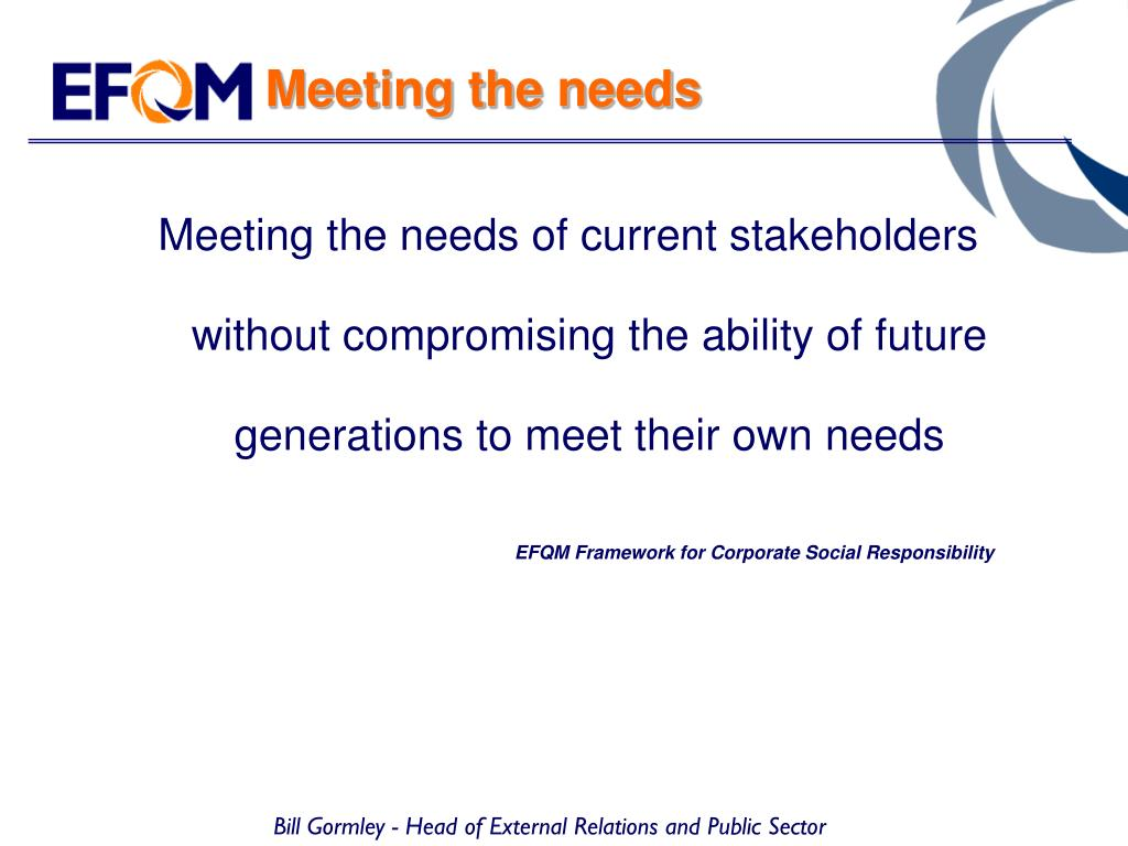 Meeting the needs