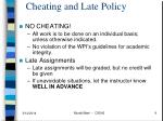 cheating and late policy