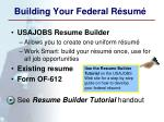 building your federal r sum
